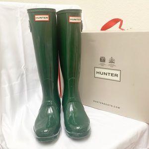 Original tall hunter green gloss rain boots